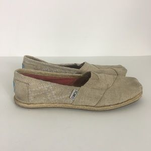 Toms Tan Canvas Espadrille Slip On Shoes